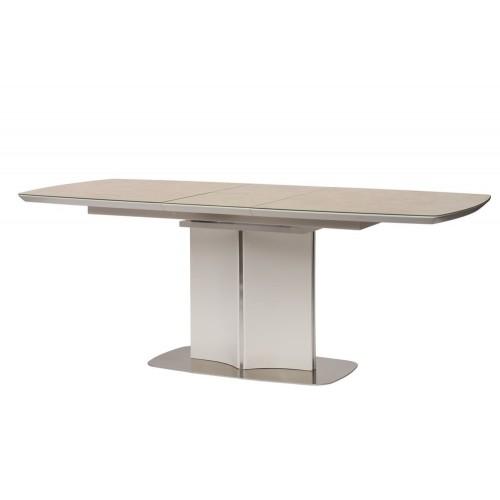 Albury стол раскладной стекло + МДФ 160-200 см бежевый