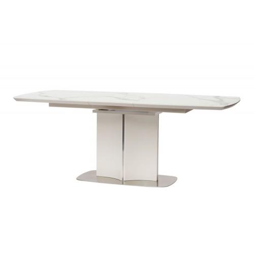 Albury стол раскладной стекло + МДФ 160-200 см белый