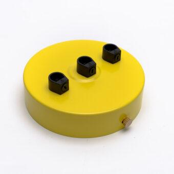 Потолочный крепеж стальной 3 выхода желтый
