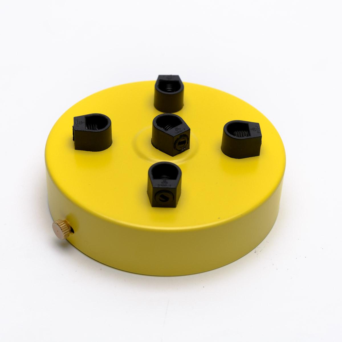 Потолочный крепеж стальной 5 выходов желтый