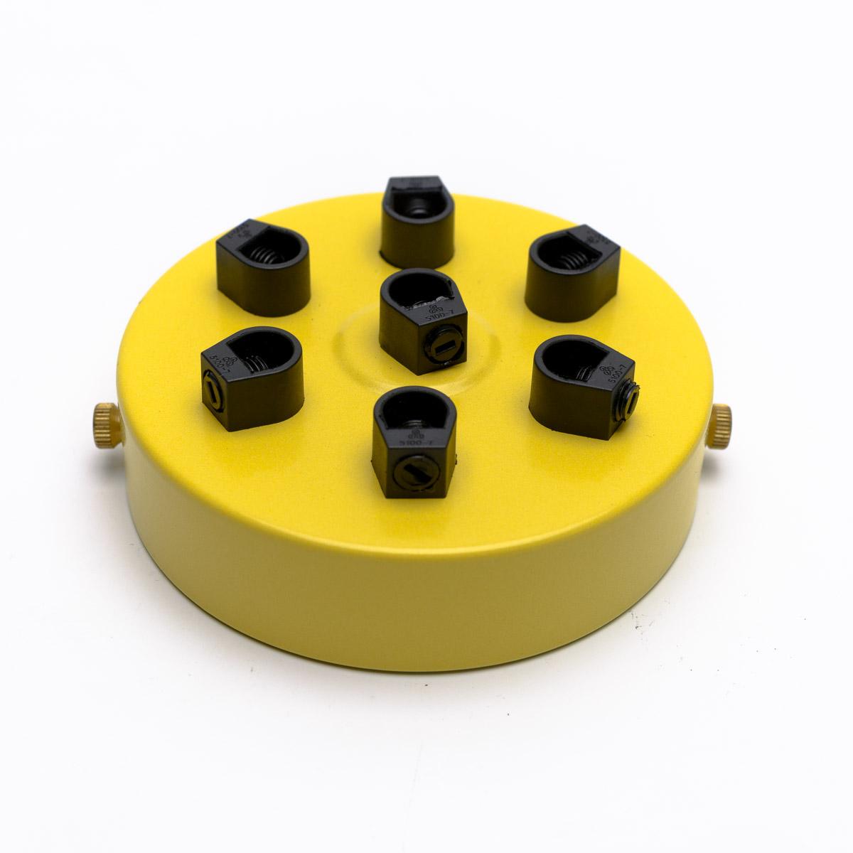Потолочный крепеж стальной 7 выходов желтый
