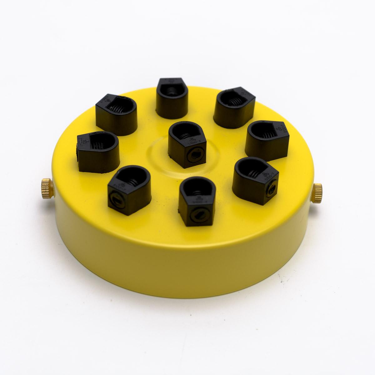 Потолочный крепеж стальной 9 выходов желтый