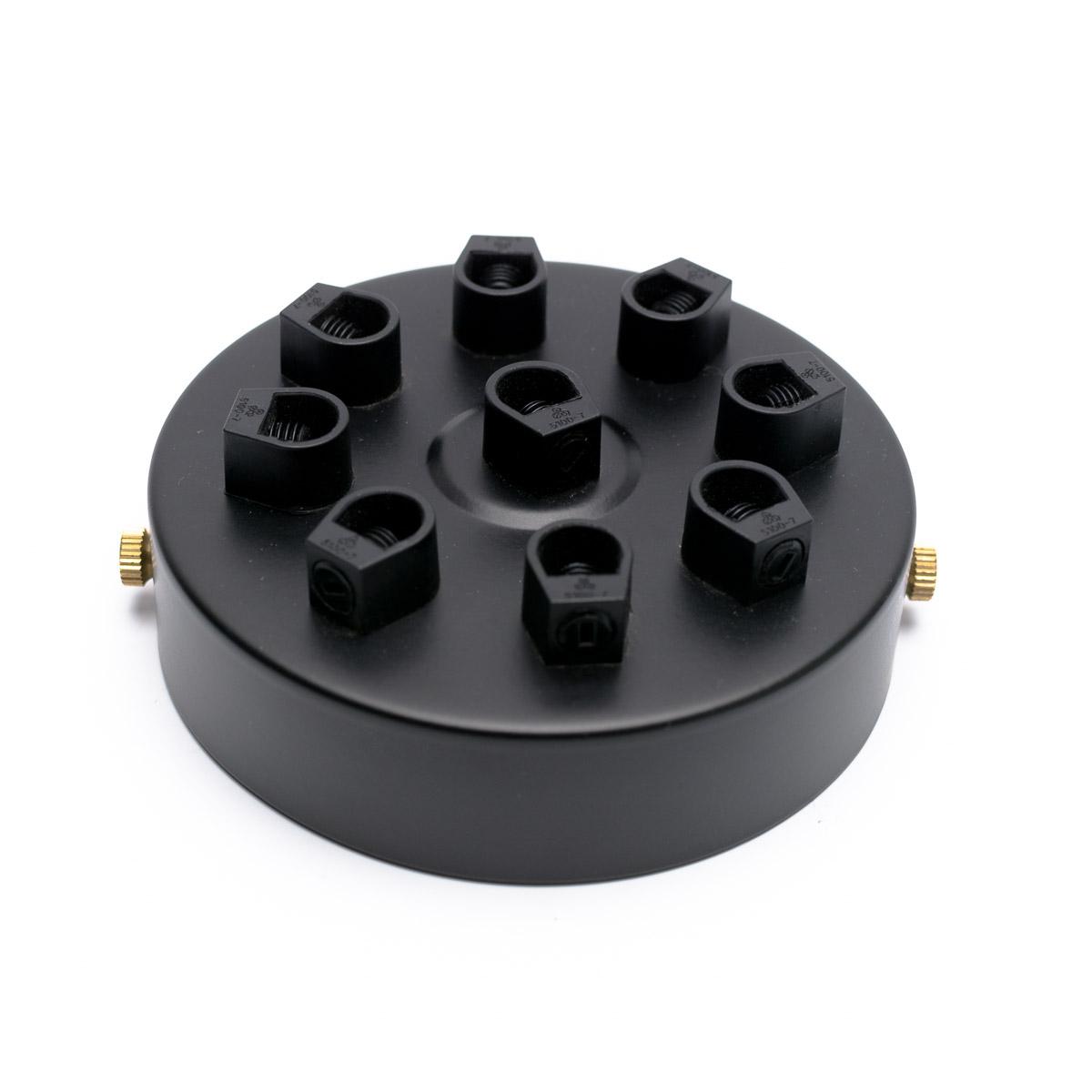 Потолочный крепеж стальной 9 выходов черный