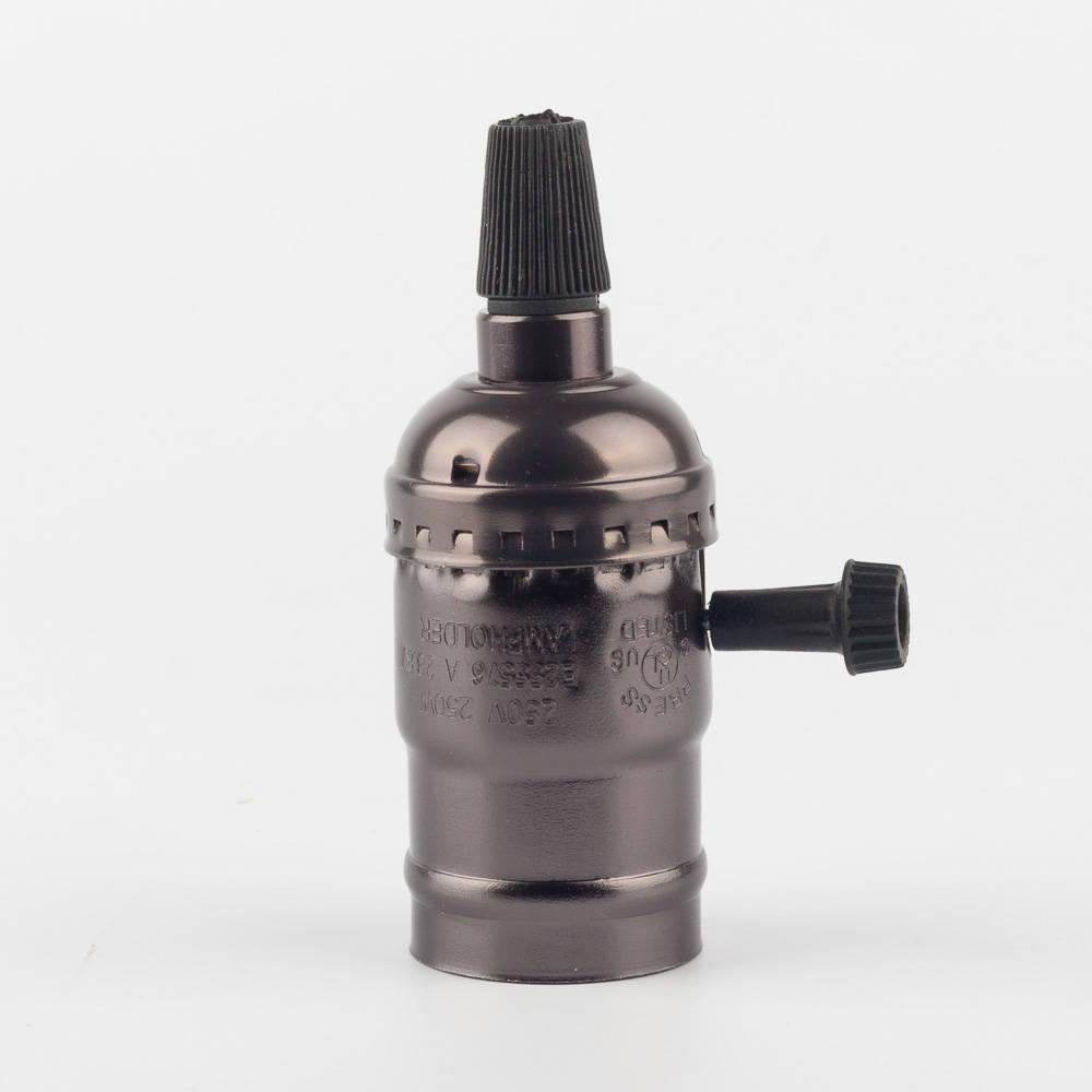 Алюминиевый патрон с выключателем черный